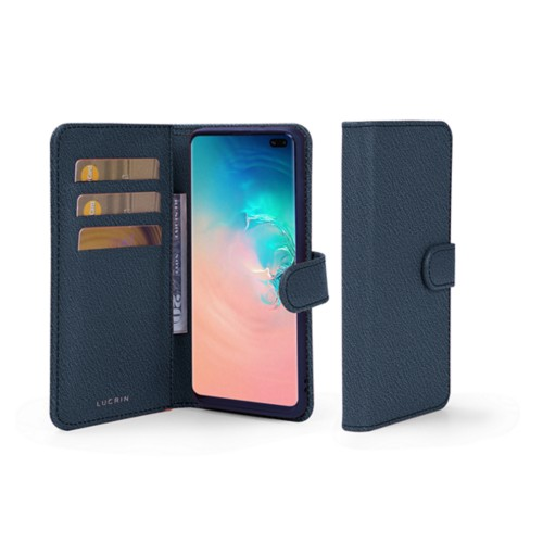 Samsung Galaxy S10 Plus Wallet Case - Navy Blue - Goat Leather