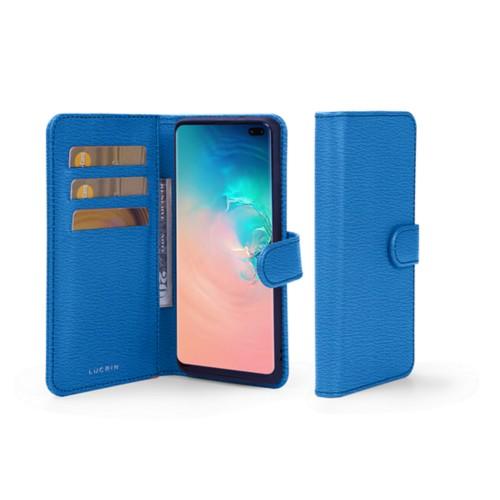 Portemonneehoesje voor de Samsung Galaxy S10 Plus - Koningsblauw - Geitenleer