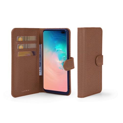 Portemonneehoesje voor de Samsung Galaxy S10 Plus - Tan - Geitenleer