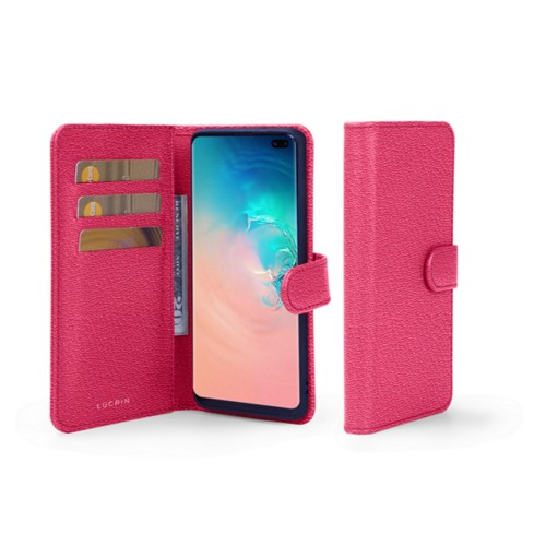 Samsung Galaxy S10 Plus Wallet Case - Fuchsia  - Goat Leather