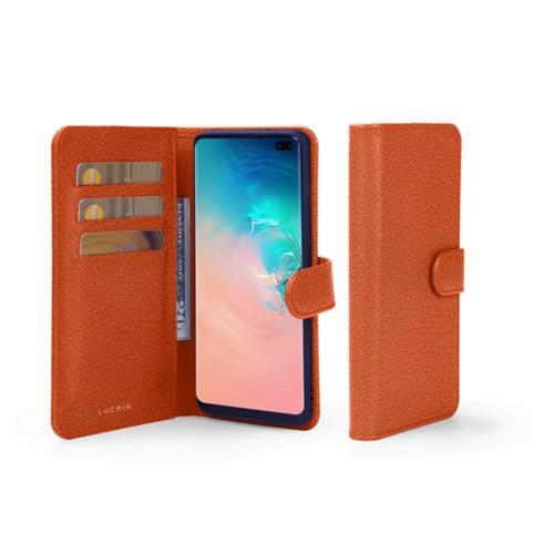 Portemonneehoesje voor de Samsung Galaxy S10 Plus - Oranje - Geitenleer