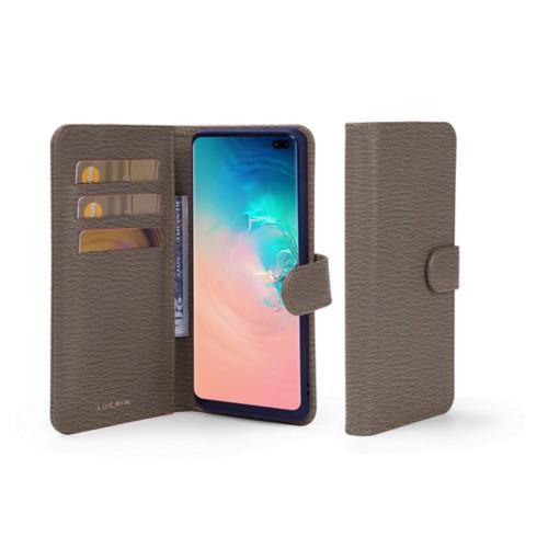 Portemonneehoesje voor de Samsung Galaxy S10 Plus - Donker Taupe - Geitenleer