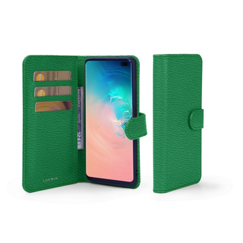Samsung Galaxy S10 Plus Wallet Case - Light Green - Goat Leather