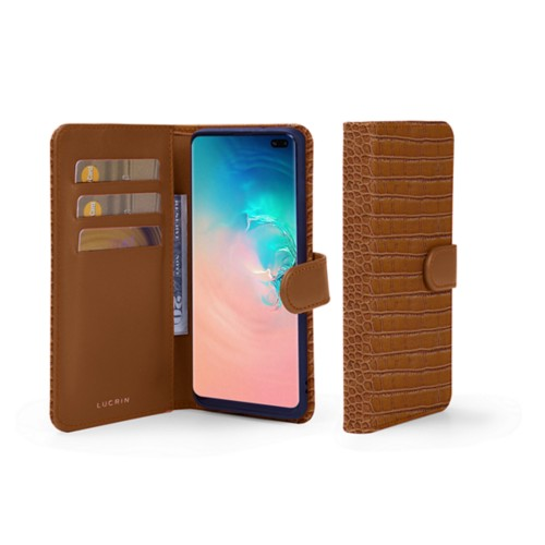 Samsung Galaxy S10 Plus Wallet Case - Camel - Crocodile style calfskin