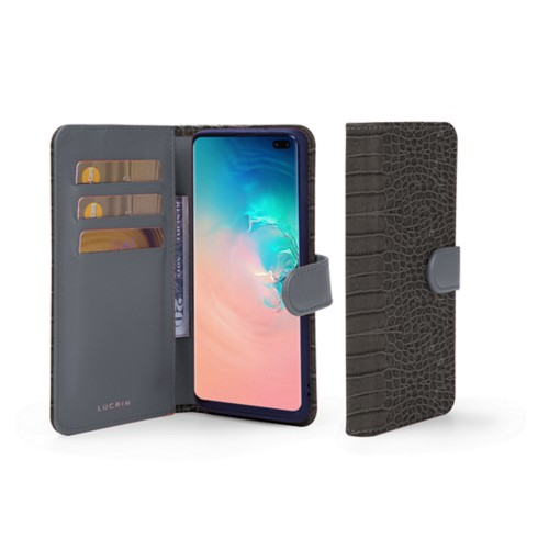 Samsung Galaxy S10 Plus Wallet Case - Mouse-Grey - Crocodile style calfskin