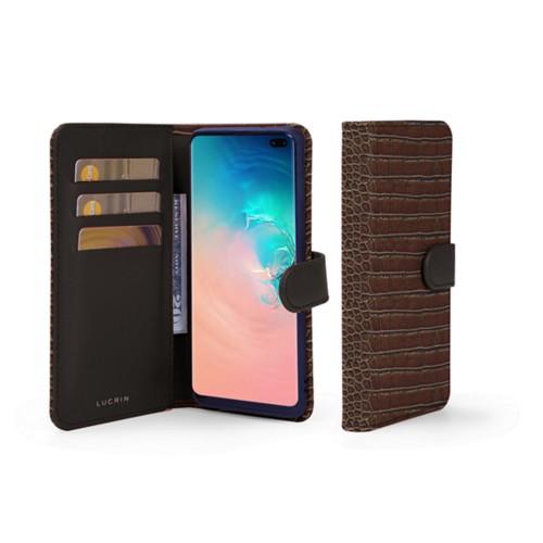 Portemonneehoesje voor de Samsung Galaxy S10 Plus - Donkerbruin - Krokodilstijl Kalfsleer