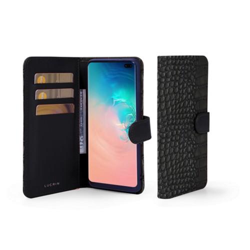 Portemonneehoesje voor de Samsung Galaxy S10 Plus - Zwart - Krokodilstijl Kalfsleer