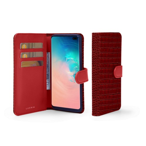 Samsung Galaxy S10 Plus Wallet Case - Red - Crocodile style calfskin