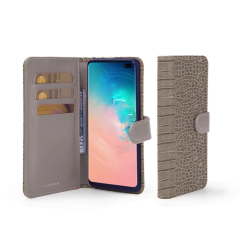 Samsung Galaxy S10 Plus Wallet Case - Light Taupe - Crocodile style calfskin