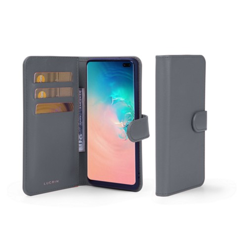 Samsung Galaxy S10 Plus Wallet Case - Mouse-Grey - Smooth Leather