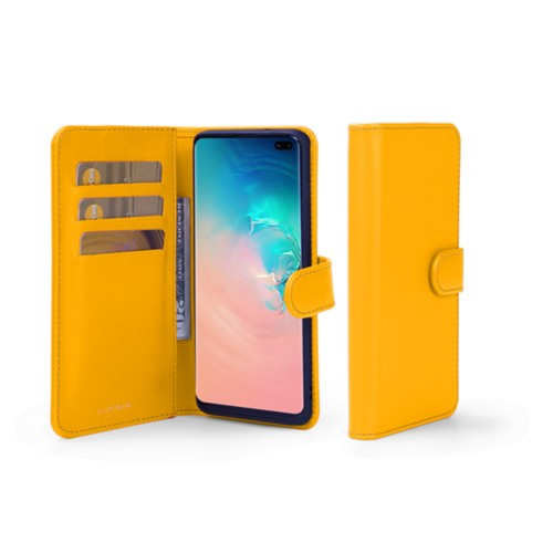 Samsung Galaxy S10 Plus Wallet Case - Sun Yellow - Smooth Leather