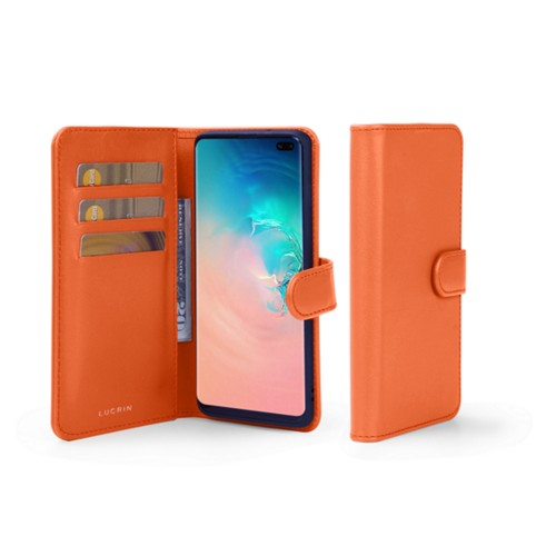 Samsung Galaxy S10 Plus Wallet Case - Orange - Smooth Leather