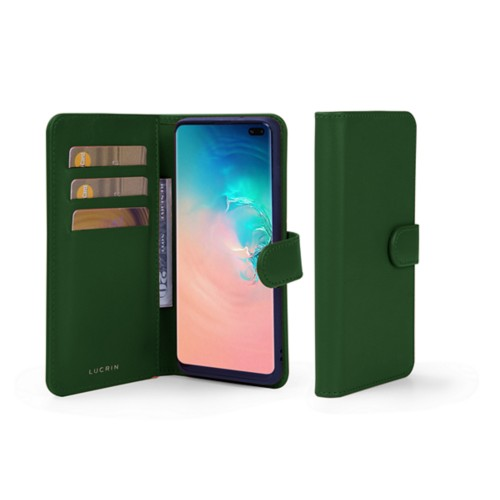 Samsung Galaxy S10 Plus ウォレットケース - Dark Green - Smooth Leather
