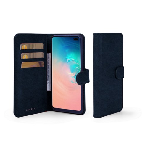 Samsung Galaxy S10 Plus Wallet Case - Navy Blue - Vegetable Tanned Leather