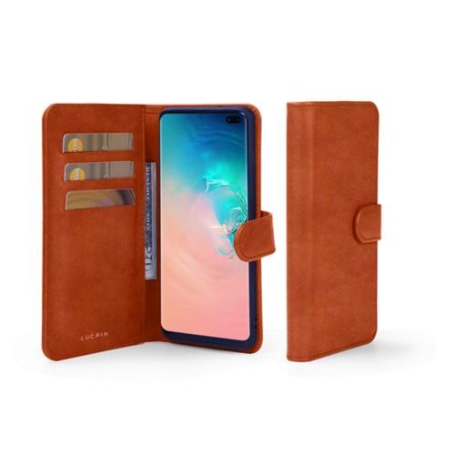 Portemonneehoesje voor de Samsung Galaxy S10 Plus - Tan - Plantaardig gelooid leer