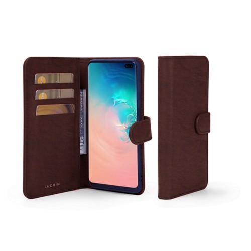 Portemonneehoesje voor de Samsung Galaxy S10 Plus - Donkerbruin - Plantaardig gelooid leer