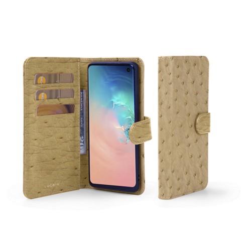 Portemonneehoesje voor de Samsung Galaxy S10 - Beige - Echt Struisvogelleer