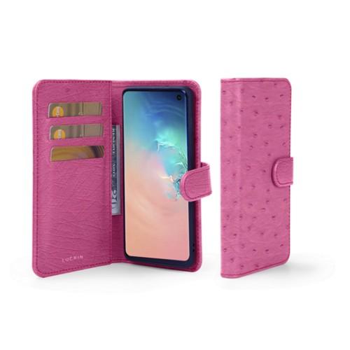 Funda con billetera para Samsung Galaxy S10 - Fuchsia  - Avestruz Natural