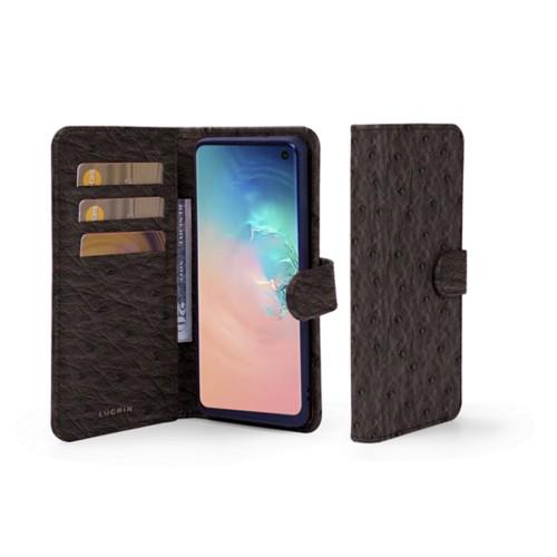Portemonneehoesje voor de Samsung Galaxy S10 - Donkerbruin - Echt Struisvogelleer