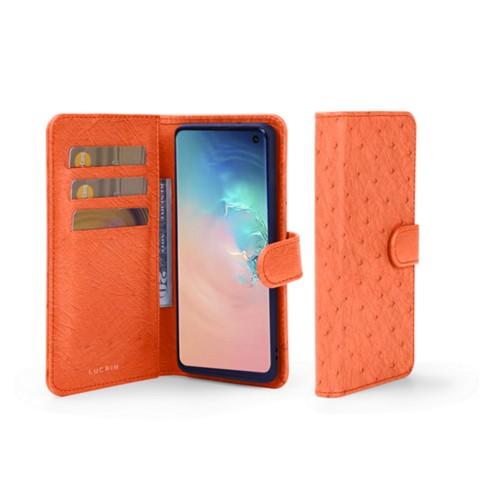 Samsung Galaxy S10 Wallet Case - Orange - Real Ostrich Leather