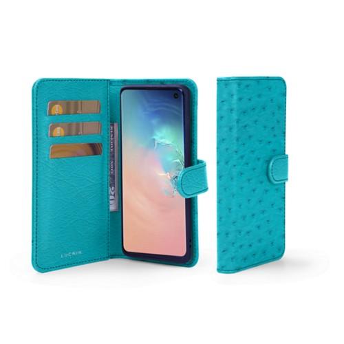 Portemonneehoesje voor de Samsung Galaxy S10 - Turquoise - Echt Struisvogelleer