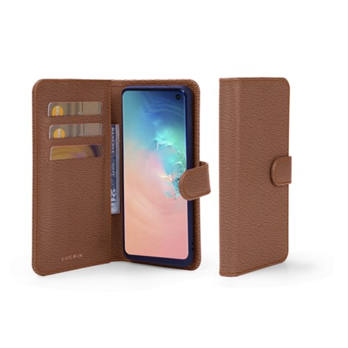 Samsung Galaxy S10 Wallet Case - Tan - Goat Leather