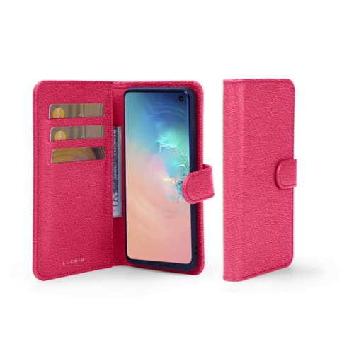 Samsung Galaxy S10 Wallet Case - Fuchsia  - Goat Leather