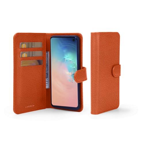 Samsung Galaxy S10 Wallet Case - Orange - Goat Leather