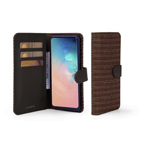 Portemonneehoesje voor de Samsung Galaxy S10 - Donkerbruin - Krokodilstijl Kalfsleer