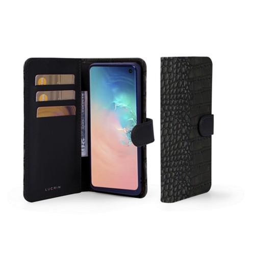Samsung Galaxy S10 Wallet Case - Black - Crocodile style calfskin