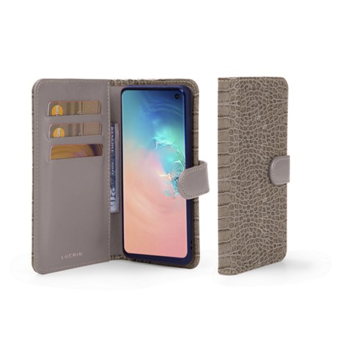 Samsung Galaxy S10 Wallet Case - Light Taupe - Crocodile style calfskin