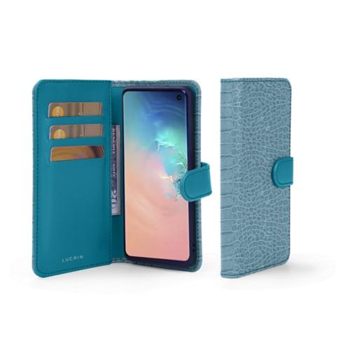 Portemonneehoesje voor de Samsung Galaxy S10 - Turquoise - Krokodilstijl Kalfsleer
