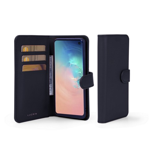 Samsung Galaxy S10 Wallet Case - Navy Blue - Smooth Leather
