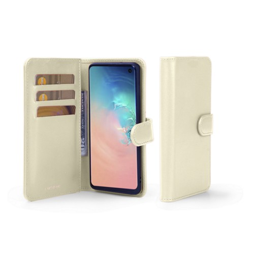 Samsung Galaxy S10 ウォレットケース - Off-White - Smooth Leather