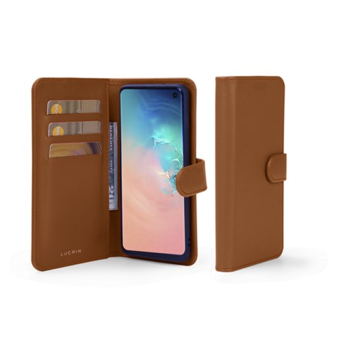 Samsung Galaxy S10 Wallet Case - Tan - Smooth Leather