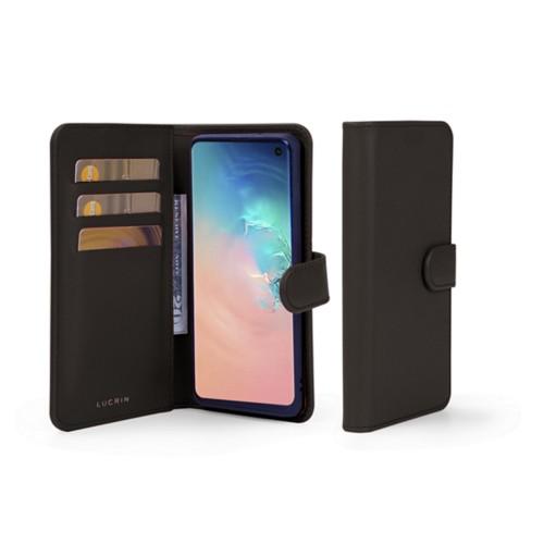 Samsung Galaxy S10 Wallet Case - Dark Brown - Smooth Leather