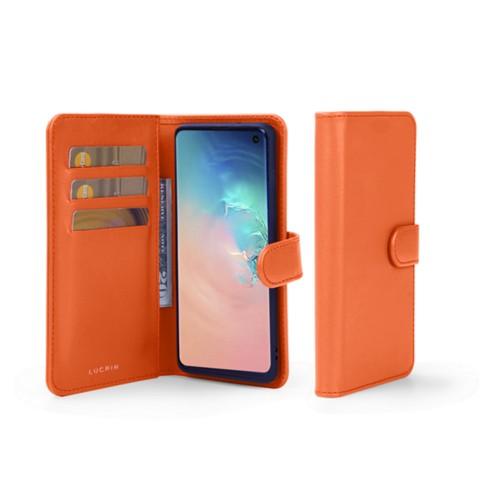 Samsung Galaxy S10 Wallet Case - Orange - Smooth Leather