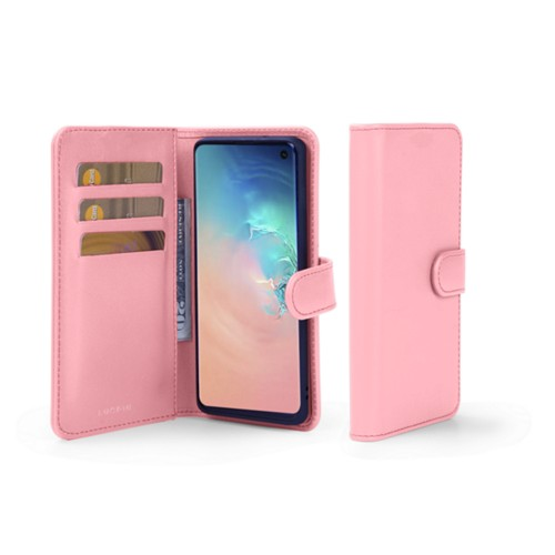 Samsung Galaxy S10 Wallet Case - Pink - Smooth Leather