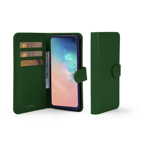 Samsung Galaxy S10 Wallet Case - Dark Green - Smooth Leather