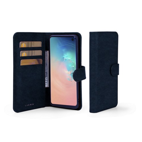 Samsung Galaxy S10 Wallet Case - Navy Blue - Vegetable Tanned Leather