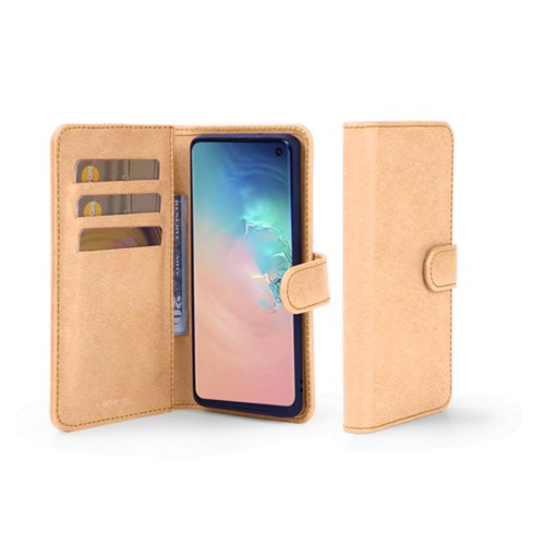 Samsung Galaxy S10 Wallet Case - Natural - Vegetable Tanned Leather