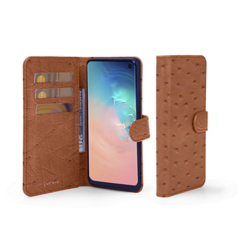 Samsung Galaxy S10e Wallet Case - Tan - Real Ostrich Leather