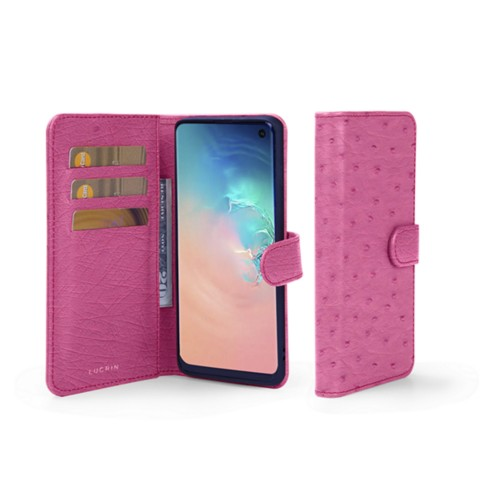 Samsung Galaxy S10e Wallet Case - Fuchsia  - Real Ostrich Leather