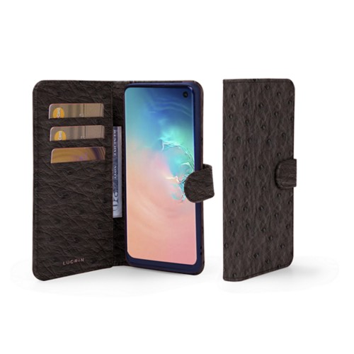 Samsung Galaxy S10e Wallet Case - Dark Brown - Real Ostrich Leather