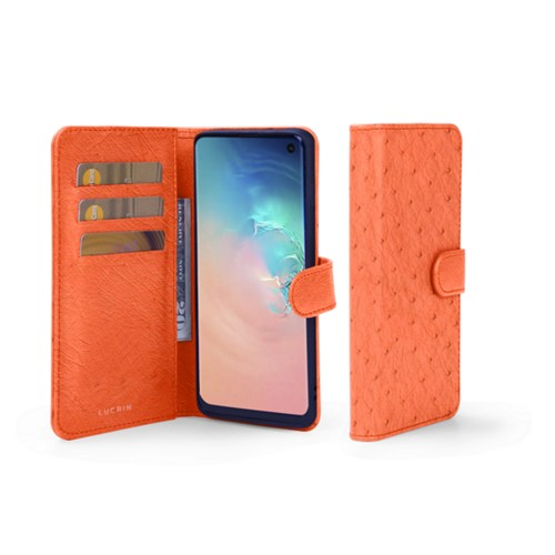 Samsung Galaxy S10e Wallet Case - Orange - Real Ostrich Leather