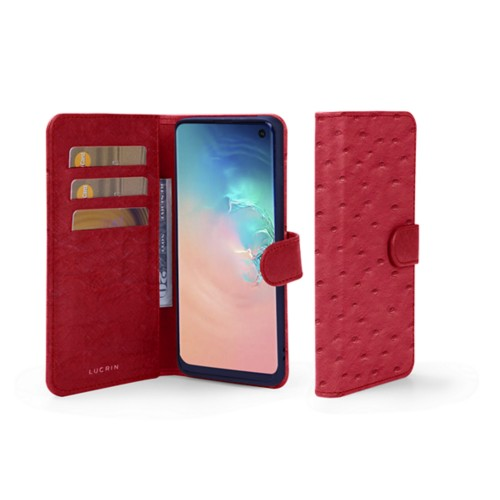 Samsung Galaxy S10e Wallet Case - Red - Real Ostrich Leather