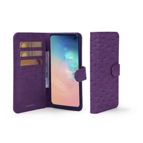 Samsung Galaxy S10e Wallet Case - Purple - Real Ostrich Leather