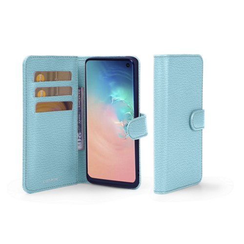 Samsung Galaxy S10e Wallet Case - Sky Blue - Goat Leather