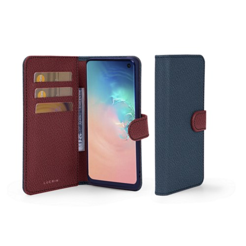 Samsung Galaxy S10e ウォレットケース - Navy Blue-Burgundy - Goat Leather