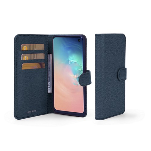 Samsung Galaxy S10e Wallet Case - Navy Blue - Goat Leather